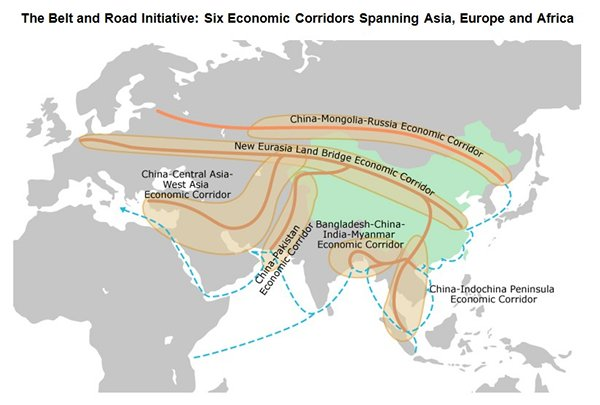 Belt and Road Initiatives; routes connecting the New Silk Roads